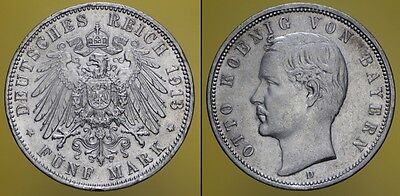 GERMANY BAYERN 1913 D 5 MARK OTTO  KOENIG  MONETA ARGENTO (cod.G.162)