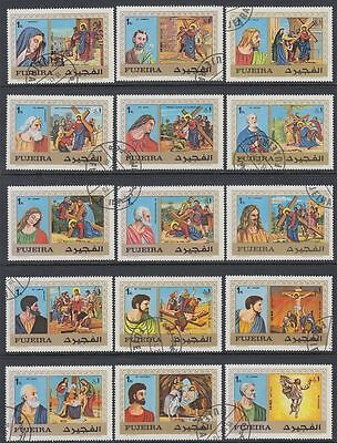 Fujeira 1970 Mi.559/73 A fine used c.t.o. Kreuzwegstationen Stations of cross