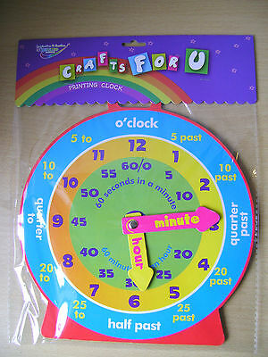 New Children's Teaching Clock For Learning To Tell The Time Magnetic Back Col068