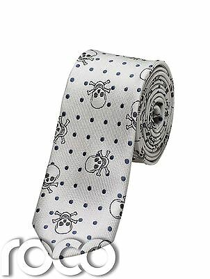 Skull Print Tie, Boys Patterned Ties, Grey Accessories, Slim Ties For Boys