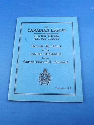 Canadian Legion General By-Laws Ladies Auxiliary Ontario Provincial Command Book