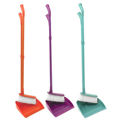 Charles Bentley Long Handled Clean Lobby Dustpan and Brush - Purple Orange Green
