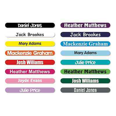 50 x PERSONALISED STICK ON PENCIL NAME LABELS TAGS WATERPROOF FOR SCHOOL / KIDS