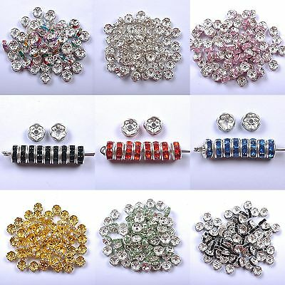 100Pcs Crystal Rhinestone SILVER PLATED Rondelle Spacer Beads For Jewelry Making
