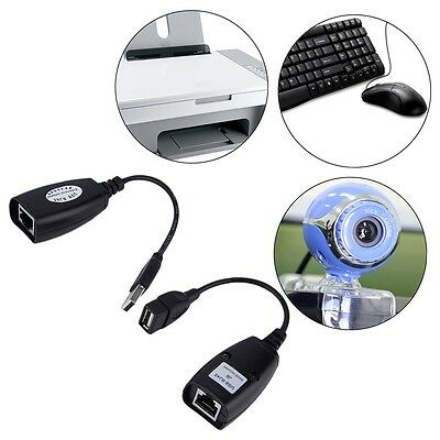 USB Extension Ethernet RJ45 Cat5e/6 Cable LAN Adapter Extender Repeater Set G#