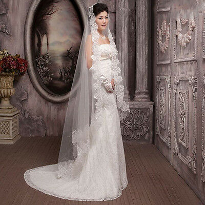 3 Meters Long Lace Edge Cathedral Wedding Gown Bridal White Tulle Veil G#