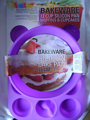 New Silicone Cake Baking Set 2 Set Purple 12 Muffin Mould & Round Sponge Mould