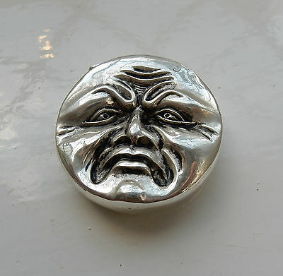 Silver-Plate Embossed Vesta Depicting Happy Sad Face Moon Man