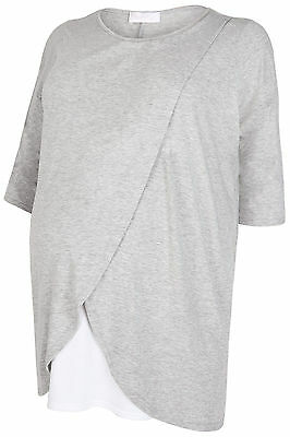 Plus Size Womens Maternity Marl Nursing Wrap Front Jersey Top With 3/4 Sleeves