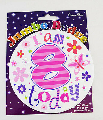 Happy 8 Today 8th Birthday Jumbo Big Badge Flower Girl Age Large Accessory Gift