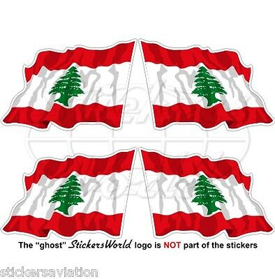 LEBANON Flying Flag Libnan, Middle East LUBNAN Lebanese 50mm Stickers, Decals x4