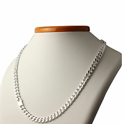 MEN'S SOLID 925 STERLING SILVER CURB CHAIN 7.5mm WIDE THICK LINKS NEW BOXED
