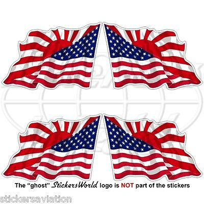 USA United States America-JAPAN Japanese Rising Sun Flying Flag 50mm Stickers x4