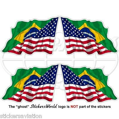 USA United States America-BRAZIL American-Brazilian Flying Flag 50mm Stickers x4