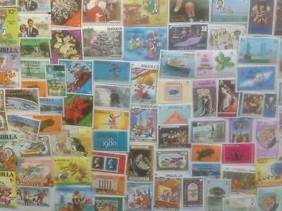 200 Different Anguilla Stamp Collection