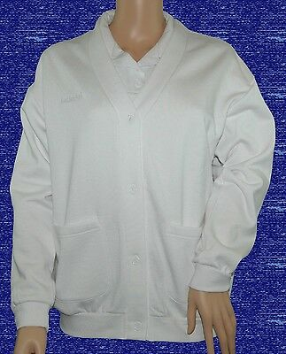 CATHEDRAL Ladies Jersey Fleece White Soft Fabric Button Up Cardigan Ex Display