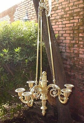 "Antiq Huge Ceiling Lighting Fixture Bronze Chandelier 6 Lights Wired 44"" France"
