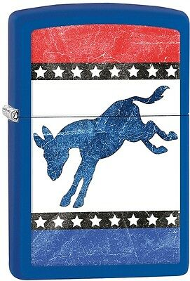 Zippo 2016 Catalog NEW Democrats Donkey Royal Blue Matte Windproof Lighter 29166
