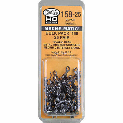 Kadee HO scale #150 Bulk Pack #158 Medium Scale Head Whisker Couplers ~ 25 Pairs