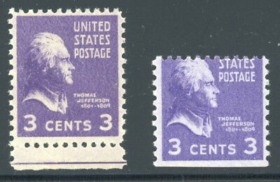 US 807 normal & misperfed stamps - mnh 3 cents Thomas Jefferson EFO