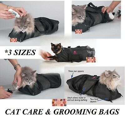 CAT GROOMING Nail Clipping Bathing Travel BAG NO BITE SCRATCH RESTRAINT SYSTEM