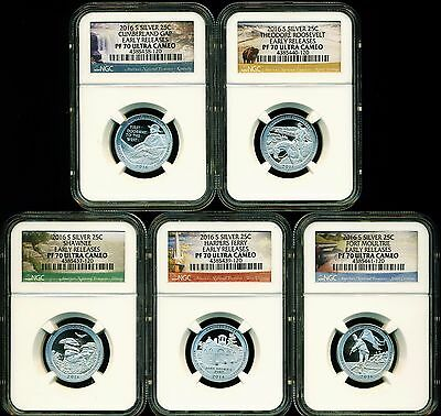 2016 S Proof Silver Quarter Set Ngc Pf70 Uc Er Early Releases Atb National