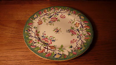 "Fantastic Antique French Porcelain 8"" Plate - Emerald Green Hand-Painted Floral"