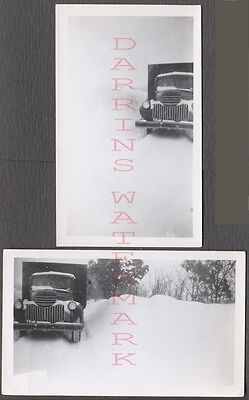 Vintage Photos Unusual View 1941 1947 Chevrolet Chevy Truck in Snow Bank 657735