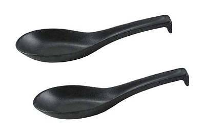 "2 PCS. Japanese 5.75"" Ceramic Tetsu Yuu Metallic Black Soup Spoons Made in Japan"