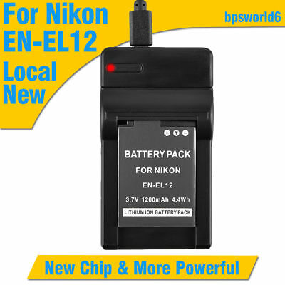 Battery+Charger for Nikon EN-EL12 Coolpix AW100 AW110 S1200pjv S710 S100 S610c