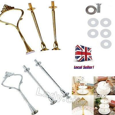 UK 3-tier Cake Cupcake Handle Fittings Stand Gold/Silver Crown Decorating Tools