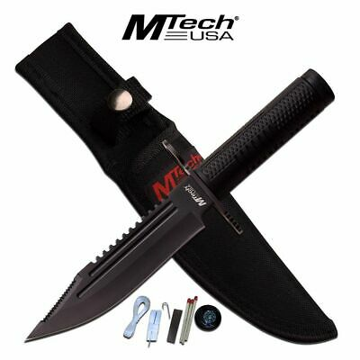 FIXED-BLADE SURVIVAL KNIFE Mtech Bayonet Blade Black Military Tactical w/ Kit