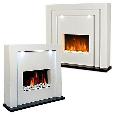 Free Standing Electric Fire Fireplace White Mdf Surround Led Lights Living Room