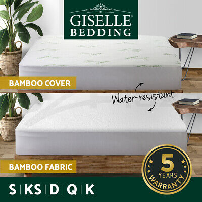 Giselle Bedding All Size Waterproof Cotton Bamboo Fibre Mattress Protector Cover