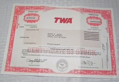 Twa Trans World Airlines 2001 Stock Certificate 49 Shares