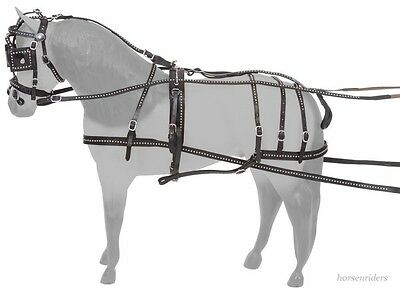 Miniature Horse Leather Driving Harness with Silver Spots - Black Leather