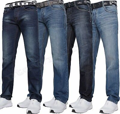 """New Mens Crosshatch Straight Leg Jeans 30"""" to 48"""""""