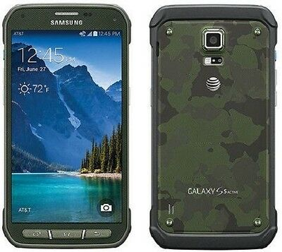 New Samsung Galaxy S5 Active G870a AT&T Unlocked GSM 16GB SmartPhone Camo Green