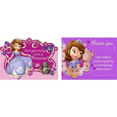 Sofia the First Disney Princess Enchancia Birthday Party Invitations Thank Yous