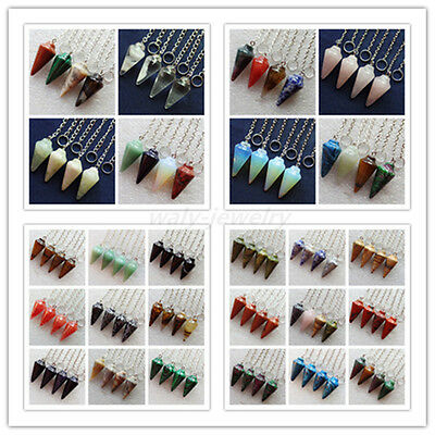 4Pcs Gorgeous Mixed Gemstone Pendulum Pendant Bead (Send Randomly) ZLX-15