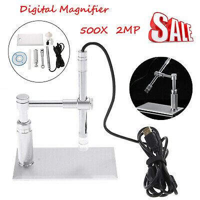 2MP USB Digital Microscope 500x 8 LED Video Camera Stand Webcam Magnifier Loupe