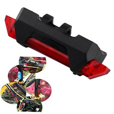 Bike Bicycle USB Rechargeable 4 Modes Waterproof Tail Rear Light Bright LED GH