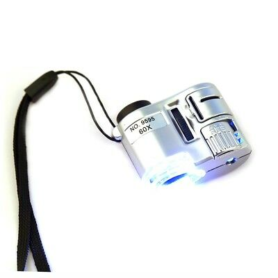 New Mini 60X Pocket Microscope Jewelry Magnifier Loupe Glass LED UV Light GH