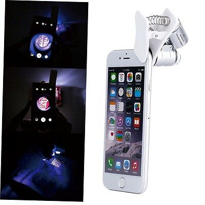 9882W 60X Magnifying Mobile Phone LED Microscope Magnifier with Clip GH