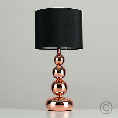 Modern Copper Stacked Ball Touch Bedside Table Lamp Lounge Light Black Shade