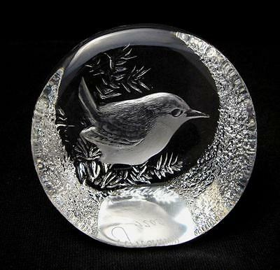 Signed Mats Jonasson Sweden Lead Crystal Bird Sculpture Signature Collection