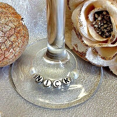 PERSONALISED PEARL WINE GLASS CHARM RING Wedding Party BIRTHDAY PLACE SETTING