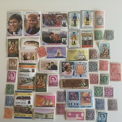 300 Different St Lucia Stamp Collection
