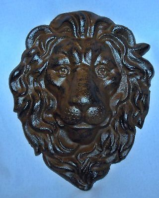 MAJESTIC CAST IRON LION HEAD WALL SCULPTURE ~ Antiqued Brown~