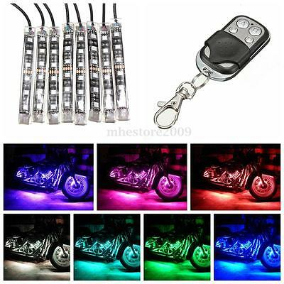 8PC Car Motorcycle Strip RGB LED Remote Under Glow Neo Light Kit Multi Color New